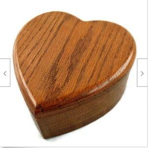 Vintage wooden oak heart jewelry box keepsake